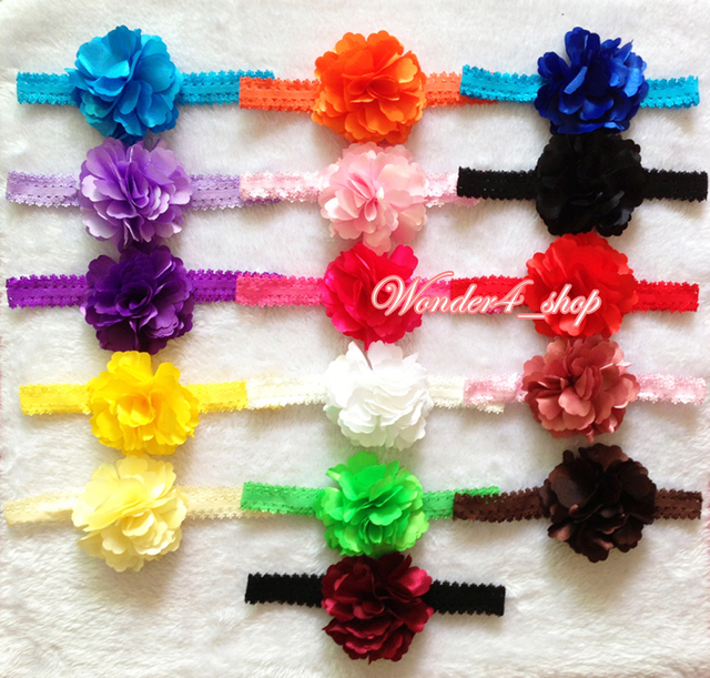 """Hair accessories 10pcs/lot, 3.3"""" Multi Color chiffon satin Flower with baby Elastic Lace Headbands,headband hair accessory"""