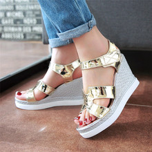 Buy Women Platform High Heel Wedge Sandals Peep Toe Shoes Woman Summer High Heels Wedges Gladiator Sandals Plus Size 34-40 41 42 for $25.36 in AliExpress store