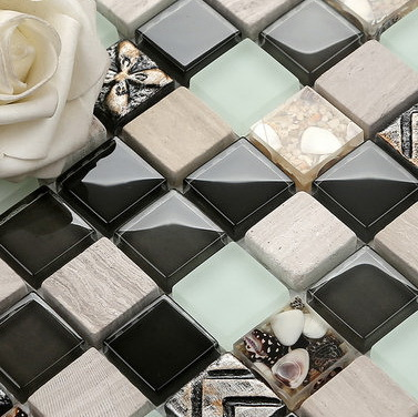 Hot-selling Platinum crystal mix shell mix porcelain mosaic  bedroom wall tile <br><br>Aliexpress