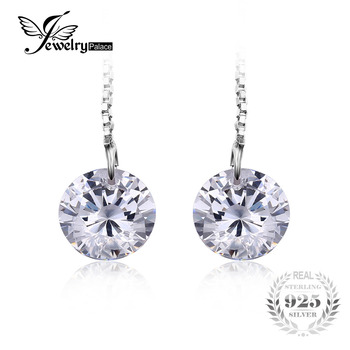 JewelryPalace Round Fashion 8mm 5.0ct Cubic Zirconia Linked Earrings Genuine 925 Sterling Silver 2016 new For Women Fine Jewelry