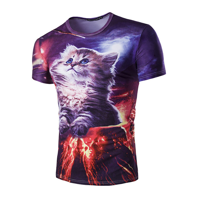 T Shirt 3D Printed Lovely cat T-shirts Men/womens Fitness Gym Clothing Male Crossfit Tops Outdoor sports training Leisure Tees(China (Mainland))