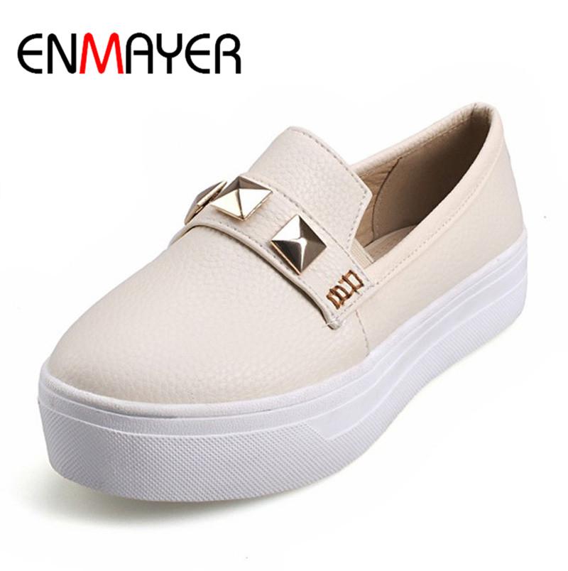 ENMAYER New Arrive Fashion women flats shoes PU slip on flats shoes Casual Comfortable loafers women platform shoes big size(China (Mainland))