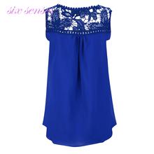 Large sizes Women Sleeveless Blouse Sexy Lace Chiffon Shirts Casual Slim sexy tops women clothing Blusas plus size 5XL XD3110
