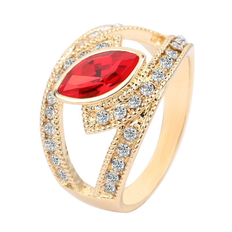 1pcs gold plated glass trendy Imitation Fusiform Faceted full crystal black ruby Emerald gem big wide surface ring women 2016(China (Mainland))