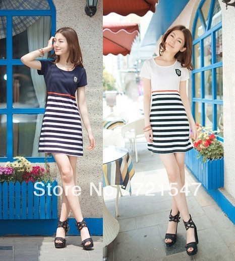2013 Stripe O-Neck short sleeve dress, institute of pure and fresh style