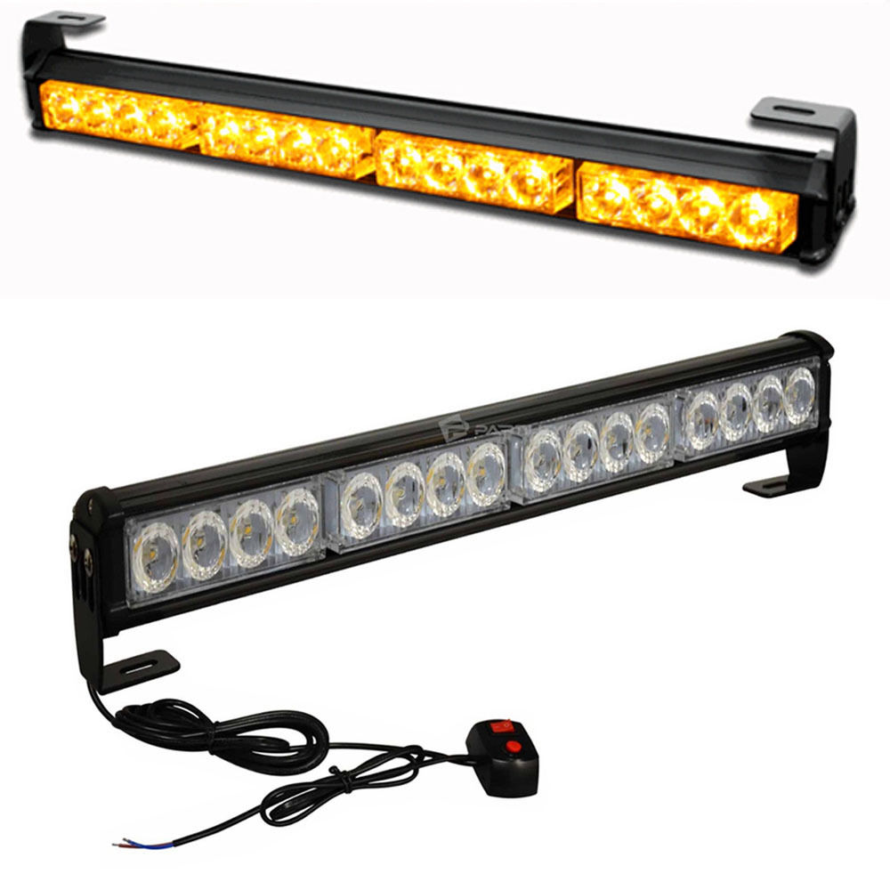 18 16 led emergency warning light bar traffic advisor vehicle strobe. Black Bedroom Furniture Sets. Home Design Ideas