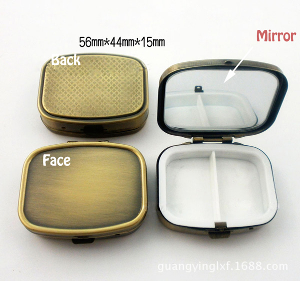 10PCS Rectangle Bronze Metal Pill Boxes Organizer DIY Medicine Case Holder 2 Compartments with compact mirror Free Shipping(China (Mainland))