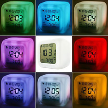 New Creative LED 7 Color  Glowing Change Digital Glowing Alarm Thermometer Clock Cube NVIE(China (Mainland))