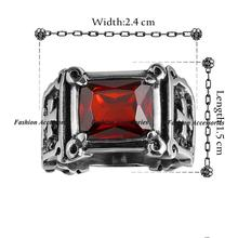 Vintage punk men jewelry Ruby Jewelry Ruby CZ Diamond Lord of Rings 316L stainless steel punk