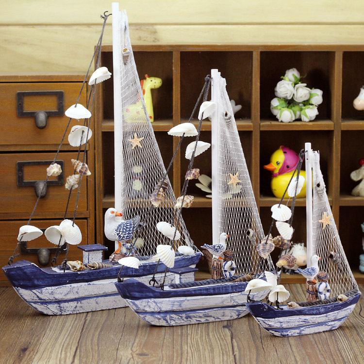 2pcs/lot Wooden Sailing Boat Handmade Carved Model <font><b>Home</b></font> <font><b>Nautical</b></font> <font><b>Decoration</b></font> Crafts Gift 21cm/28cm/ 34cm