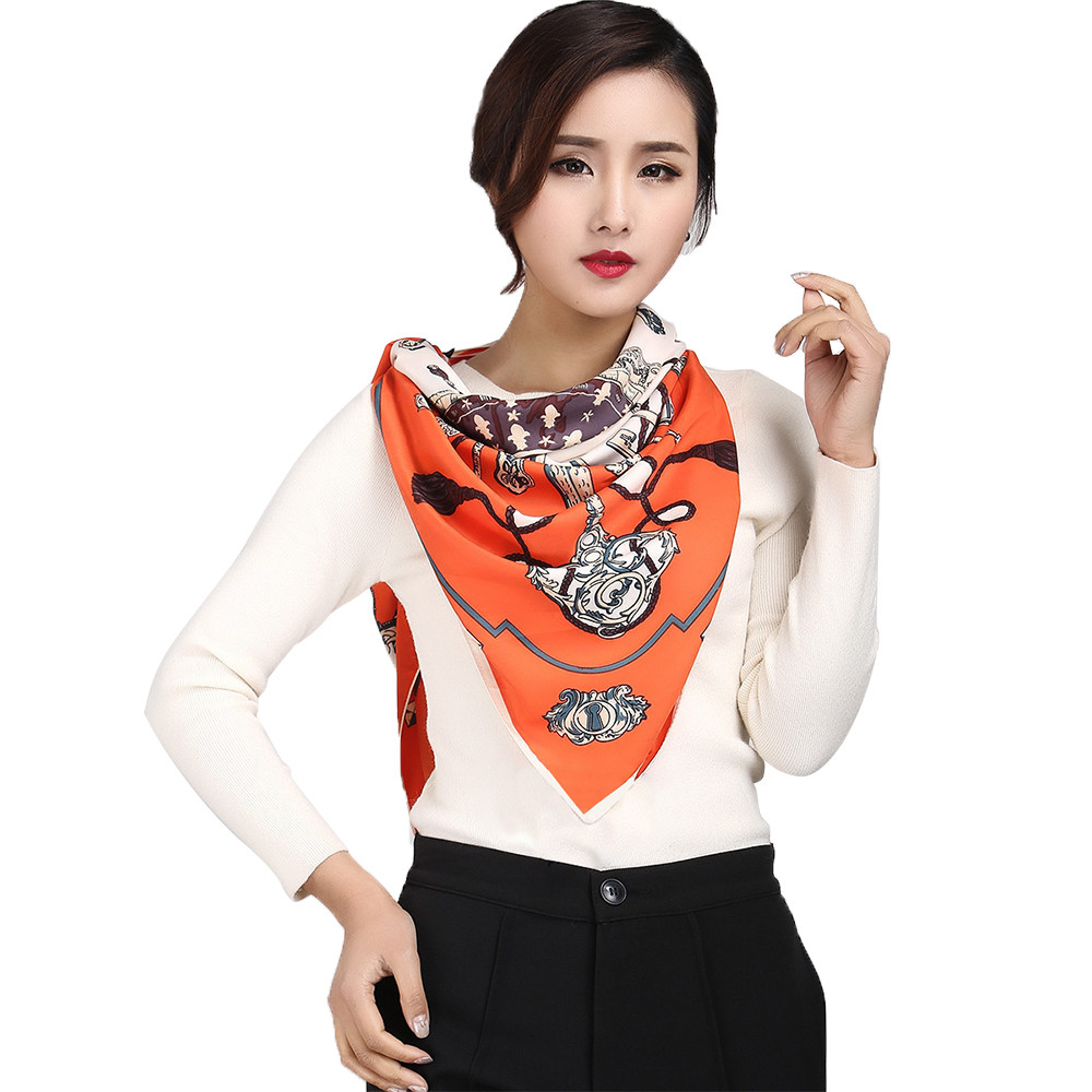 Top Quality Fashion Women Printing Square Scarf Head Wrap Kerchief Neck Shawl Scarves Sjaal Cachecol Echarpes Foulards July20(China (Mainland))