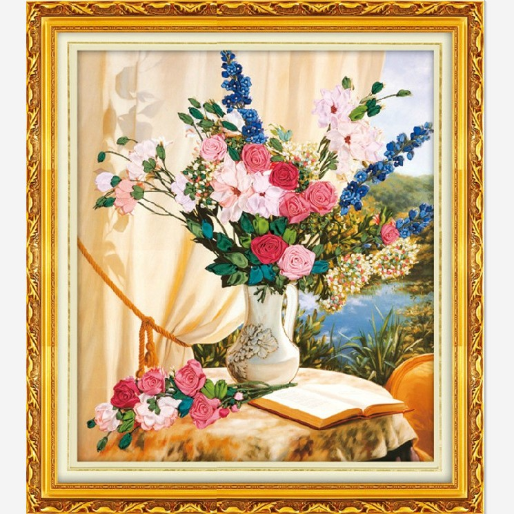 DIY needlework ribbon embroidery intergards paintings big 3d print cross stitch painting living room - JOY HAPPY SHOPPING STORE store
