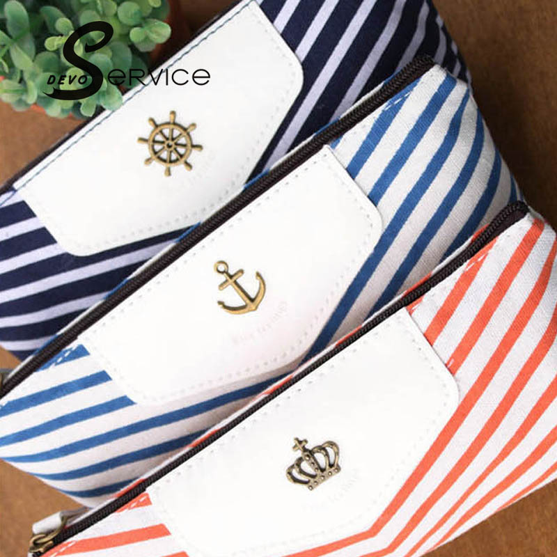 Creative Navy Canvas Pencil Bag Students Stripped Pencil Cases Stationery Office Supplies Makeup pounch 2016 New Arrival(China (Mainland))