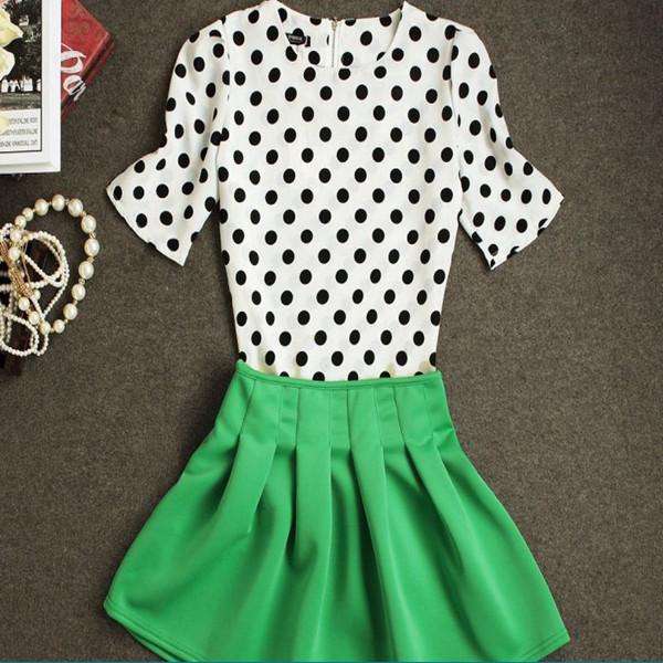 Make 2015 European retro wave hubble-bubble sleeve blouse +tall waist fleabane dress for 2 suit(China (Mainland))