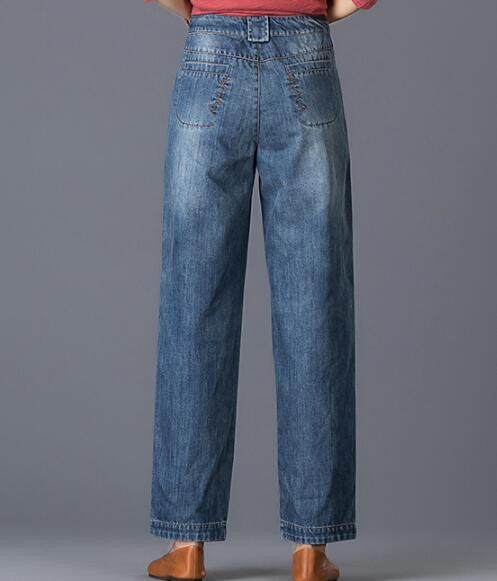 Скидки на Джинсовые случайные хлопка шаровары брюки для женщин плюс размер осень весна зима новая мода высокая талия свободные брюки yfq0606