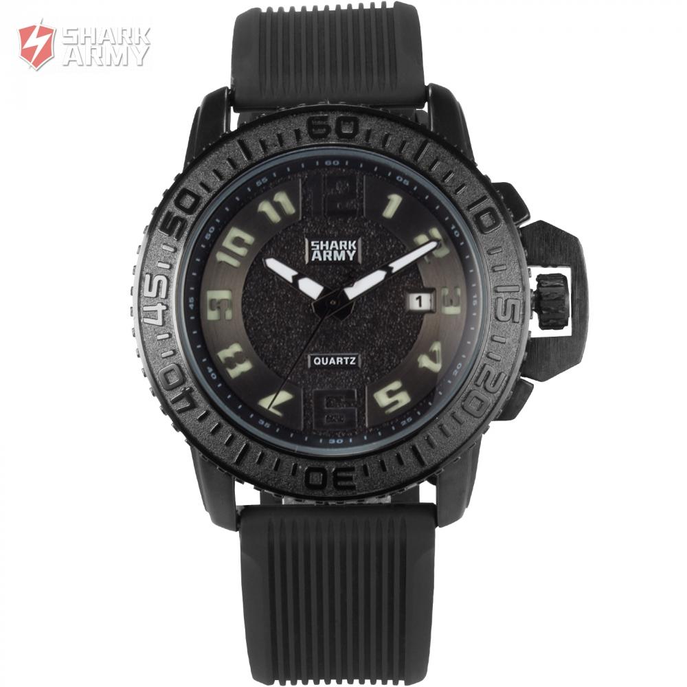 Shark Army Brand Black White Auto Date Silicone Strap Military Clock Relogio Masculino Mens Quartz Sport Wrist Watches / SAW180(China (Mainland))