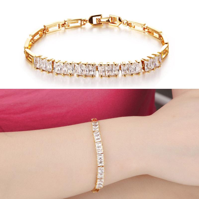 Bling Art Deco Style Baguette CZ Bridal Bracelet 18K GP Yellow Gold Plated(China (Mainland))