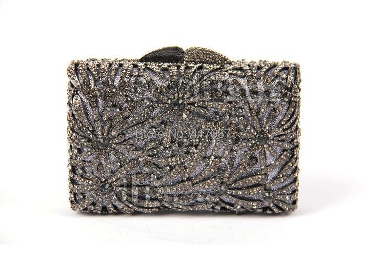 262GREY Crystal Lady fashion Bridal Hollow metal Evening purse clutch bag case handbag<br><br>Aliexpress