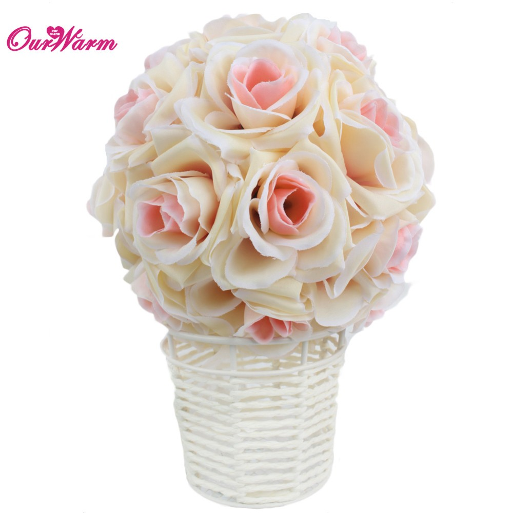Online Cheap Wholesale Artificial Silk Flower Rose Balls Wedding