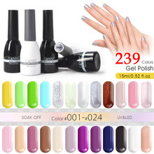 CANNI Gel Polish Factory Supply 239 Colors 15ml Nail Art Beauty 62507 Soak off UV LED Gel Paint Design Nails Gel Lacquer Varnish(China (Mainland))