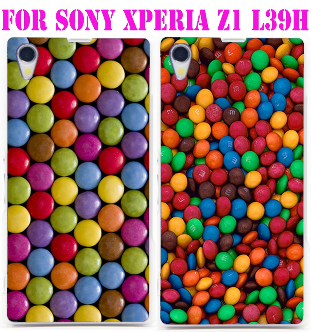 1PC Wow, M&M's Chocolate Candies style clear hard case back cover mobile phone shell for Sony Xperia Z1 L39h(China (Mainland))