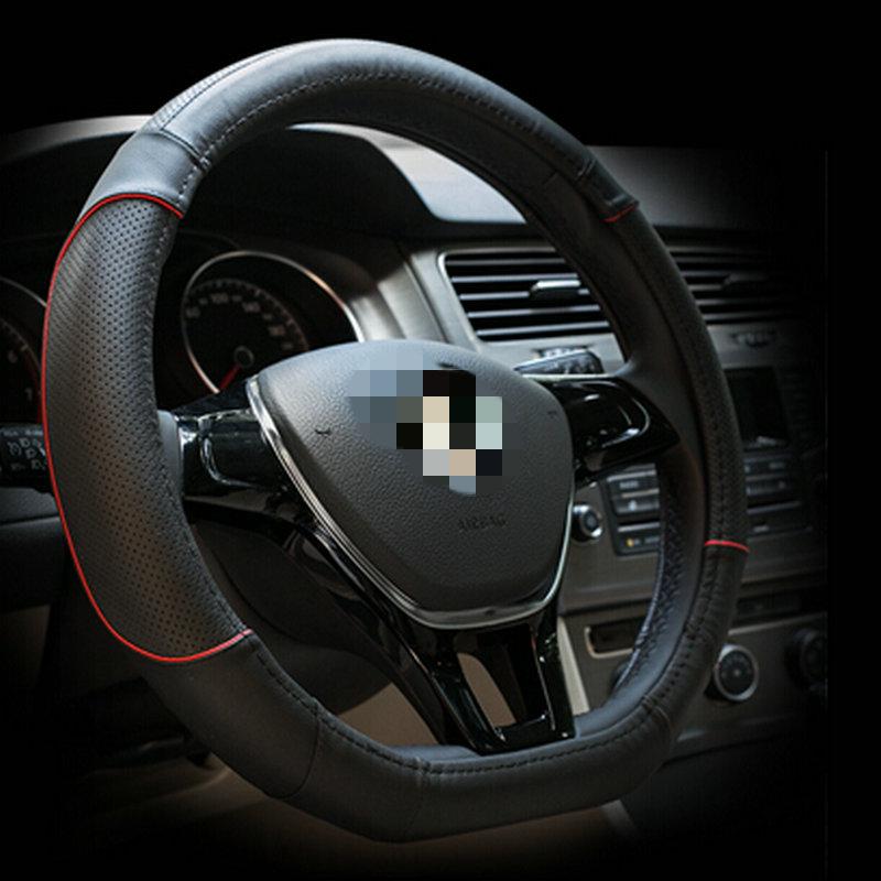 Genuine leather steering wheel cover D Shape for VW GOLF 7 2015 POLO JATTA 2016 Passat B8 Touran(China (Mainland))