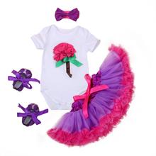 Retail/Wholesale 2016 Crown Shortsleeve Bodysuit Ruffle Tutu floral Skirt Baby Skirt with Headband 3PC Set feike79(China (Mainland))