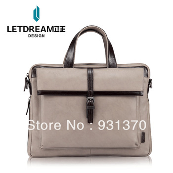 High quality oil waxing leather first layer of cowhide business casual man bag genuine leather handbag messenger bag color block