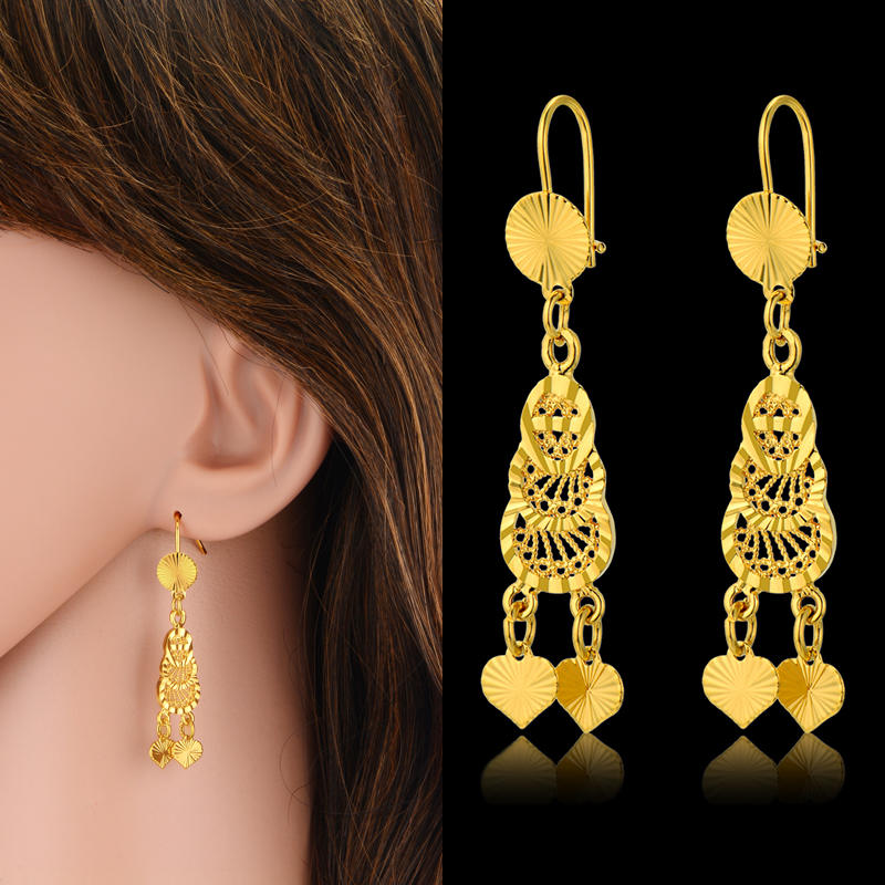 Heart Earrings Wholesale 18K Gold Plated Vintage Drop Earrings Long Boho Jewelry Accessories for Women Wholesale 2016 New Hot(China (Mainland))
