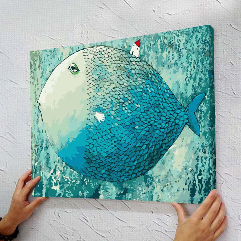 with frame Picture Painting By Numbers Home Decor For Living Room DIY Canvas Oil Painting Wall Art 40*50cm fish cartoon for kids(China (Mainland))