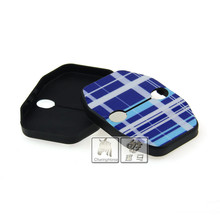 2 X Blue Tartan Color Stripe 3D Car Door Lock Striker Protector Buckle Cover for MINI Cooper F55 F56