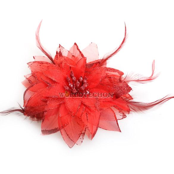 W7Tn Fashion Belly Dance Headdress Flower Feather Hair Pin Brooch Clip for Party(China (Mainland))
