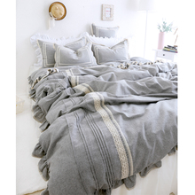 linen cotton  four piece set  grey color fashion princess wind duvet cover bed sheets 66.2%cotton linen for bed cover 100%cotton(China (Mainland))