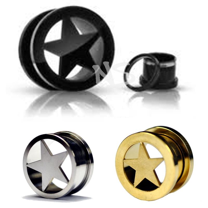 60 pcs/lot Stainless Steel Star Logo Screw Ear Tunnel Plugs Ear Expander Stretchers Piercing jewelry 6-16mm pircing<br><br>Aliexpress