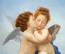 Classic Angel Painting for Bedroom Canvas Art Oil Painting First Kiss by William Adolphe Bouguereau Paintings High Quality(China (Mainland))