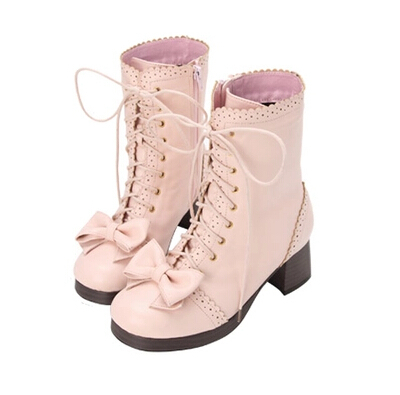 Japanese sweet princess lolita girls shoes  wild laser carved bow lace Martin boots Knight Boots