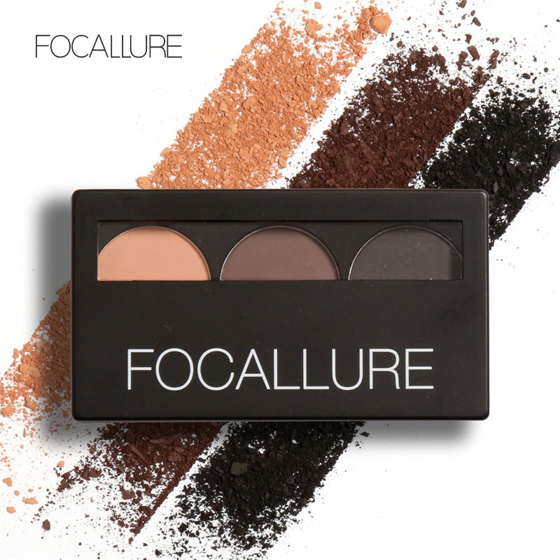 Focallure Eyes Makeup Double Effect Eyebrow Powder Palette 3 Color Eye Brows Powder Wax Waterproof Sweatproof With Brows Brush(China (Mainland))