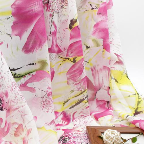 Multi-colored pink print elegant adult sexy thin summer female clothes chiffon cloth(China (Mainland))