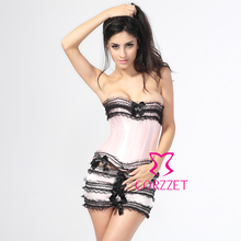 Free Shipping Women Pink Sexy Lace Up Gothic Bustier Corset Dress Set(Overbust Corpete Corselet+Skirt+G-string)SIZE S M L XL XXL