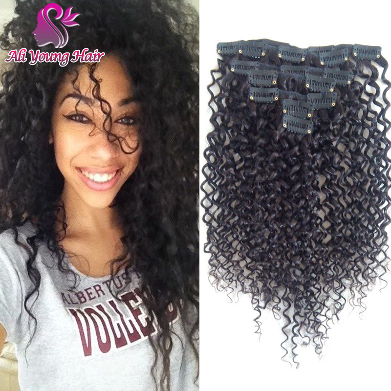 Brazilian Kinky Curly Clip In Human Hair Extensions 6A grade 100% Human Remy Hair Clips in Extesnions Epacket Free Shipping<br><br>Aliexpress