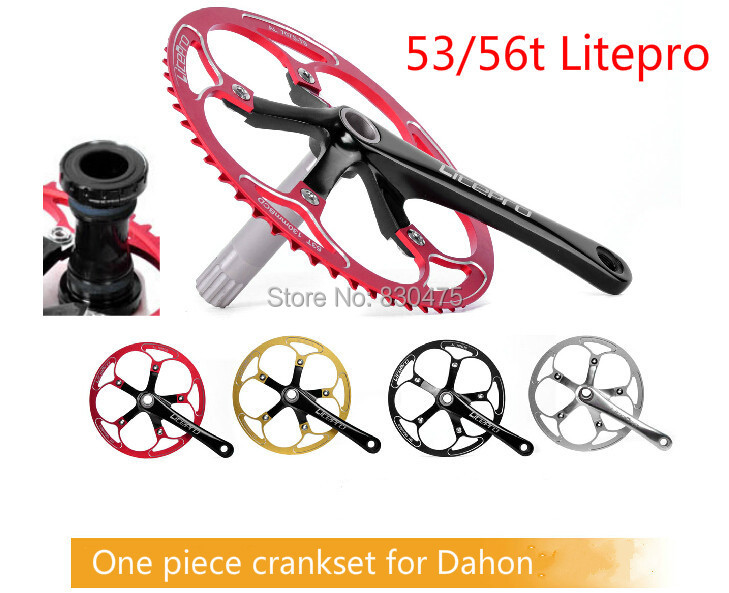Litepro elite one piece folding bike crankset ultra-light bmx crankset 53t / 56t including the axis<br><br>Aliexpress