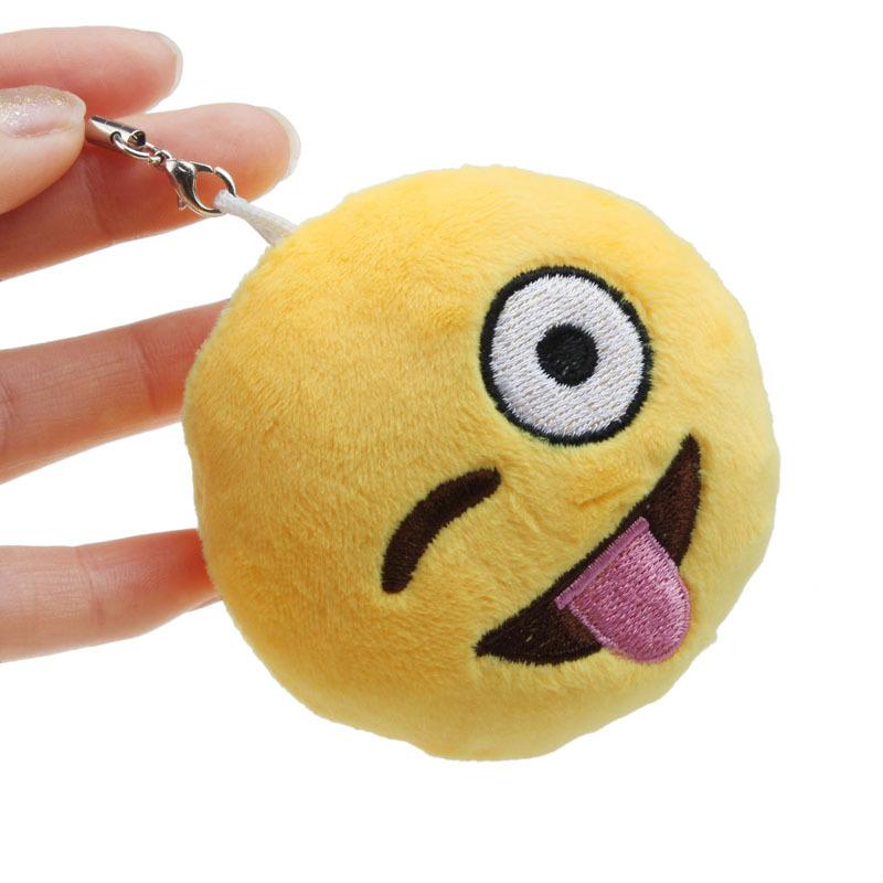 Mini Cute Emoji Smiley Emoticon Key Chain Mobile Phone Straps Soft Toy Gift Pendant Bag Accessory(China (Mainland))