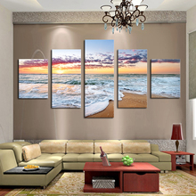 Buy Unframed 5P Modern Wall Pictures Living Room Sunset Seaview Picture Printed Canvas Painting Wall Art Home Decoration Artwork for $28.08 in AliExpress store