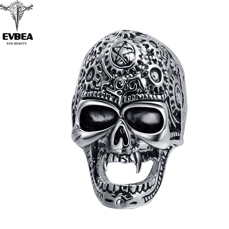 Black Friday Stretch Rock Roll Tattoo Punk Skull Adjustable Silver Couple Rings Men's Party Jewelry Accessories EVBEA R264(China (Mainland))