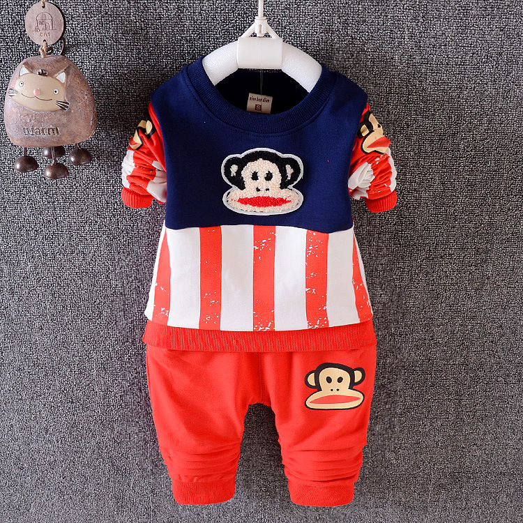 2 pcs 0-4 years Baby Boy Clothes Spring Autumn Fashion Cartoon Little Monkey Children Kids Boys Clothing 2016 New Wholesale T179(China (Mainland))