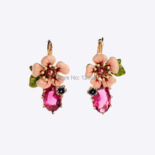 New Pink Flower Crystal Drop Earrings Wedding Jewelry Dangle Statement Earrings For Women Enamel Bohemian Fashion Earring E0185(China (Mainland))