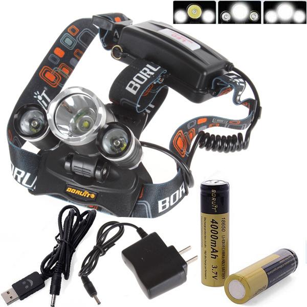 Гаджет  Boruit JR-3000 3X CREE XML T6 4 Mode LED Headlamp Headlight 5000 Lumens With AC Charger With 2*18650 3000mAh 3.7V Battery None Свет и освещение