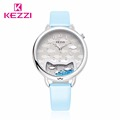 2016 KEZZI New Brand Korean Staly Fashion Lady Watch Simple Two Hands Design Diamond Scale Leather
