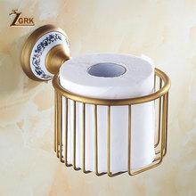 ZGRK antyczny łazienka niebieski i biały porcelany akcesoria rzeźbione miedzi ze stopu sprzętu zestaw do montażu na ścianie łazienka zestaw narzędzi(China)