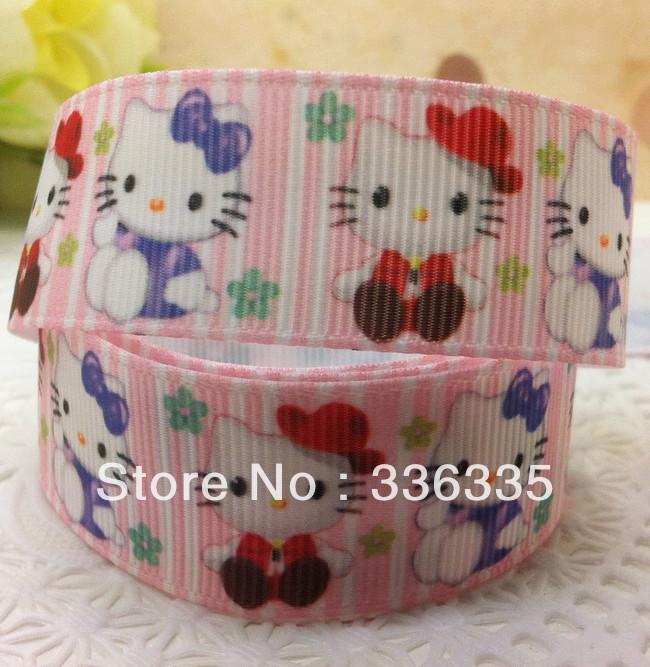 Free shipping 20 yards Hello Kitty ribbon 7/8'' 22mm pink stripe kt printed Grosgrain ribbon Polyester Cartoon Ribbon hairbow(China (Mainland))